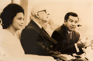 De Gaulle watching the boat races with Monique and Sihanouk 1966